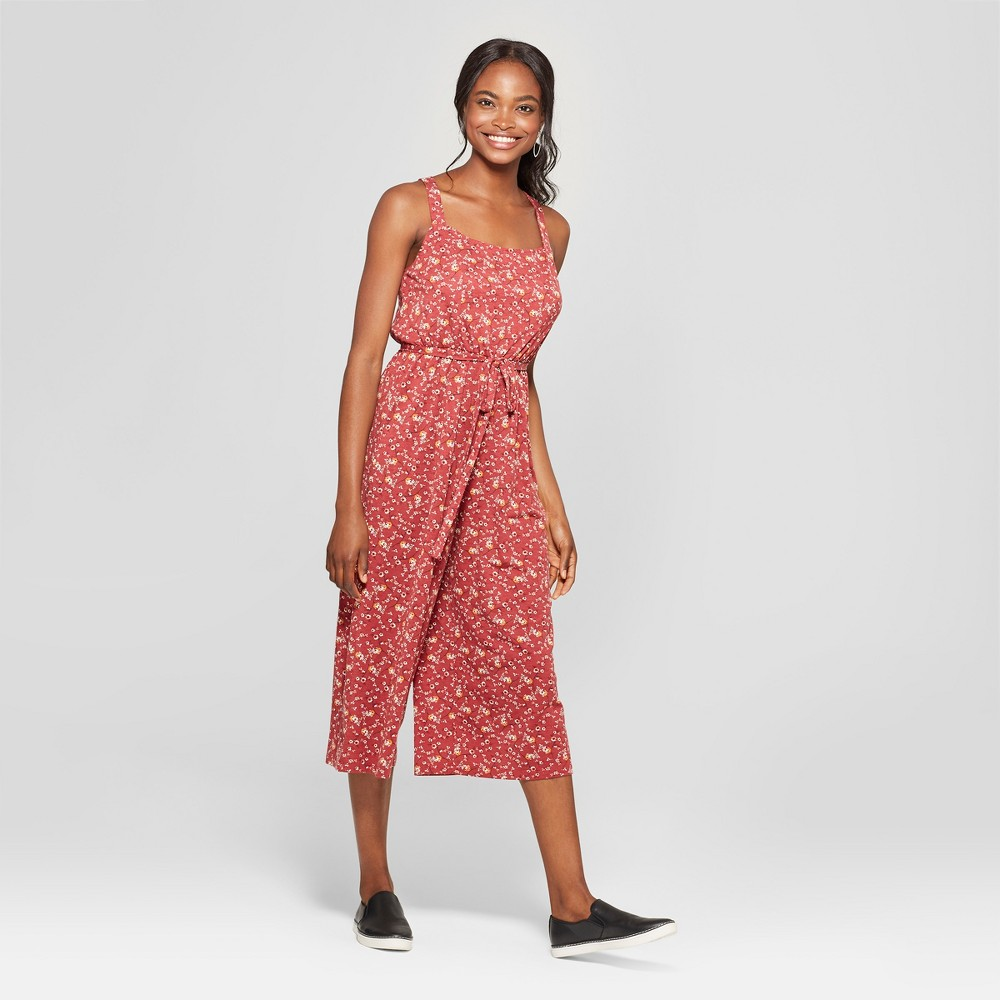Women's Floral Print Sleeveless Tie Waist Jumpsuit - Lily Star (Juniors') Coral XL, Pink was $29.98 now $7.49 (75.0% off)