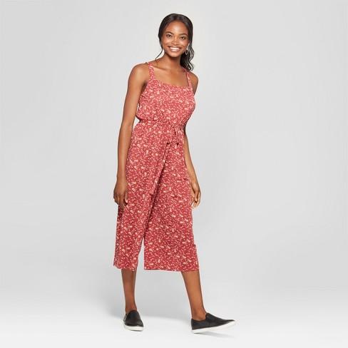 f45e624c399 Women s Floral Print Sleeveless Tie Waist Jumpsuit - Lily Star (Juniors )  Coral