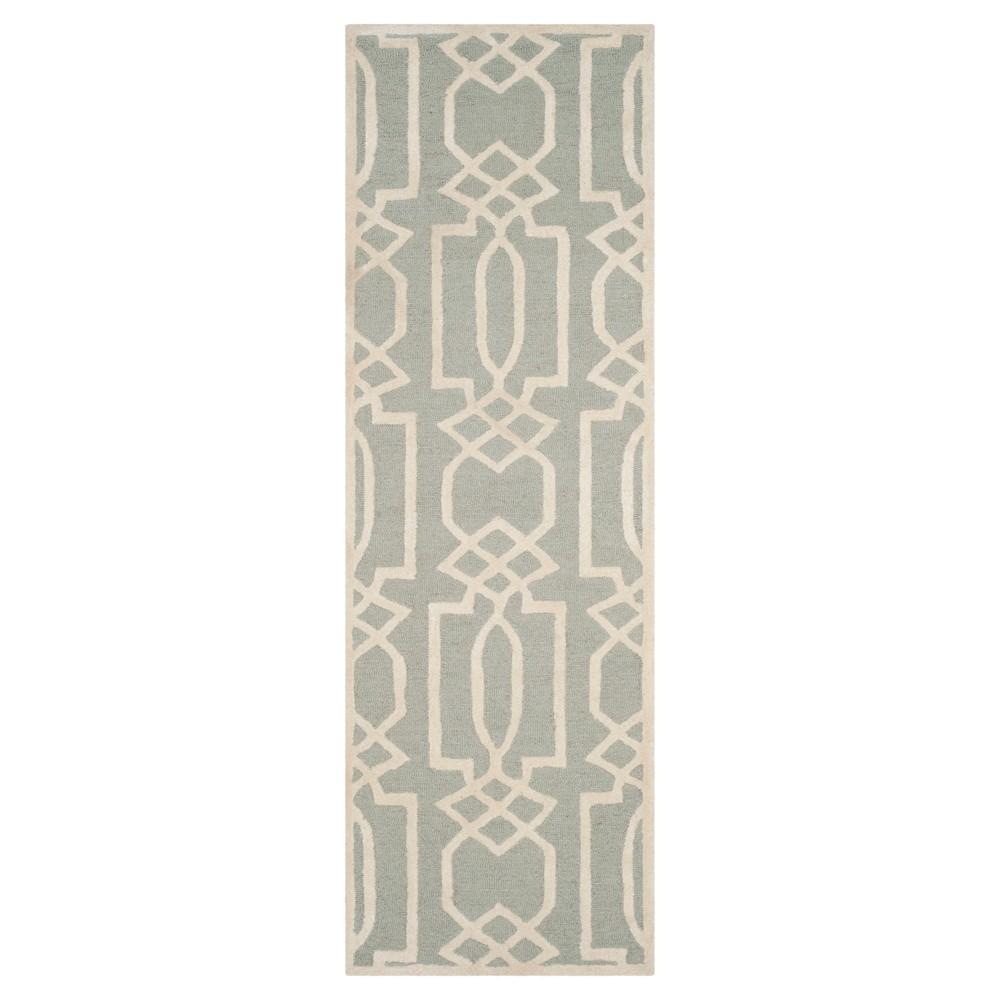 Gray/Ivory Geometric Tufted Runner 2'3X7' - Safavieh