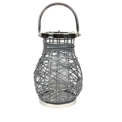 "Northlight 13.5"" Modern Gray Decorative Woven Iron Pillar Candle Lantern with Glass Hurricane"
