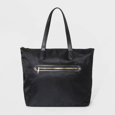 Zip Closure Tote Handbag - A New Day™ Black