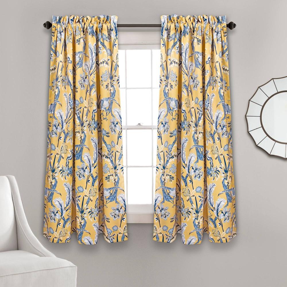 "Image of ""108""""x52"""" Dolores Room Darkening Window Curtain Panels Yellow - Lush Decor, Size: 52""""x108"""""""