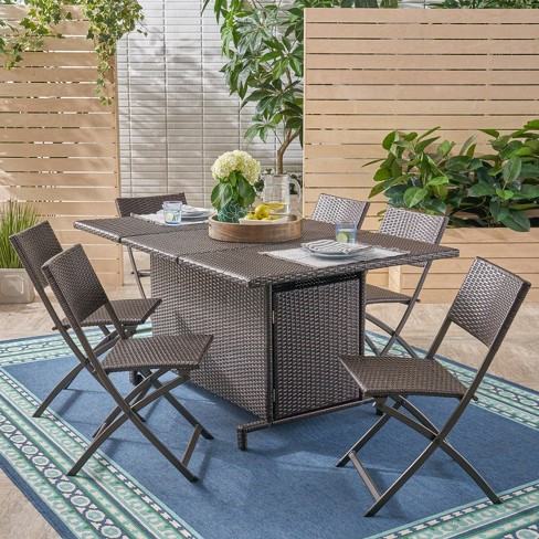 Maldives 7pc Foldable Wicker Dining Set - Brown - Christopher Knight Home - image 1 of 4