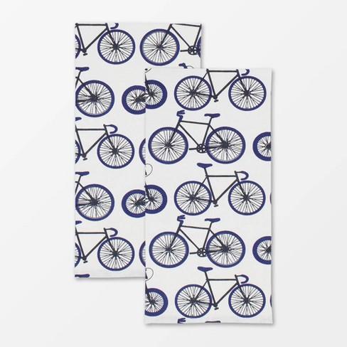 2pk Designer Biking Print Towel - MU Kitchen - image 1 of 3