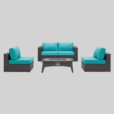 Convene 5pc Outdoor Patio Set with Fire Pit Turquoise - Modway