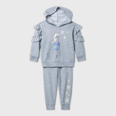 Toddler Girls' 2pk Frozen Elsa Long Sleeve Fleece Top and Bottom Set - Gray 2T