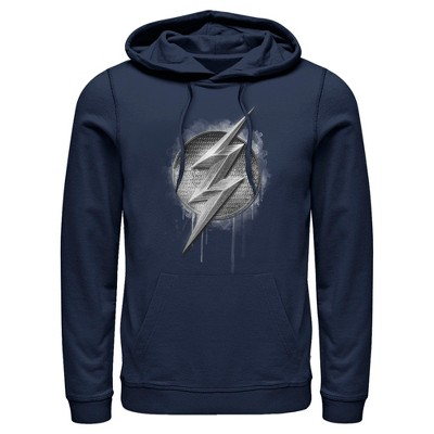 Men's Zack Snyder Justice League The Flash Silver Logo Pull Over Hoodie