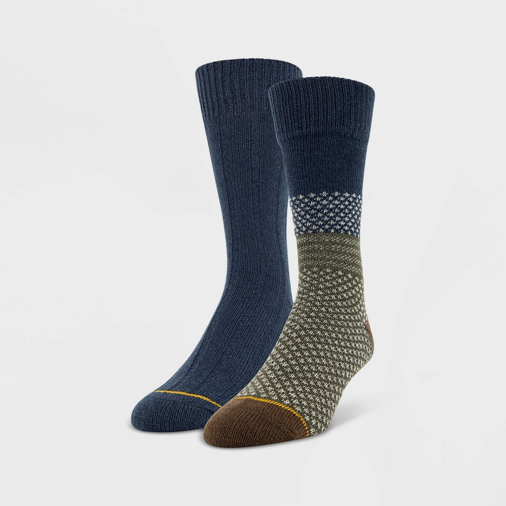 Image of Signature Gold by Goldtoe Men's 2pk Soft Warm Recycled Crew Socks - Blue 6-12, Size: Small