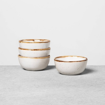 4pk Stoneware Reactive Glaze Mini Bowl Set Sour Cream - Hearth & Hand™ with Magnolia
