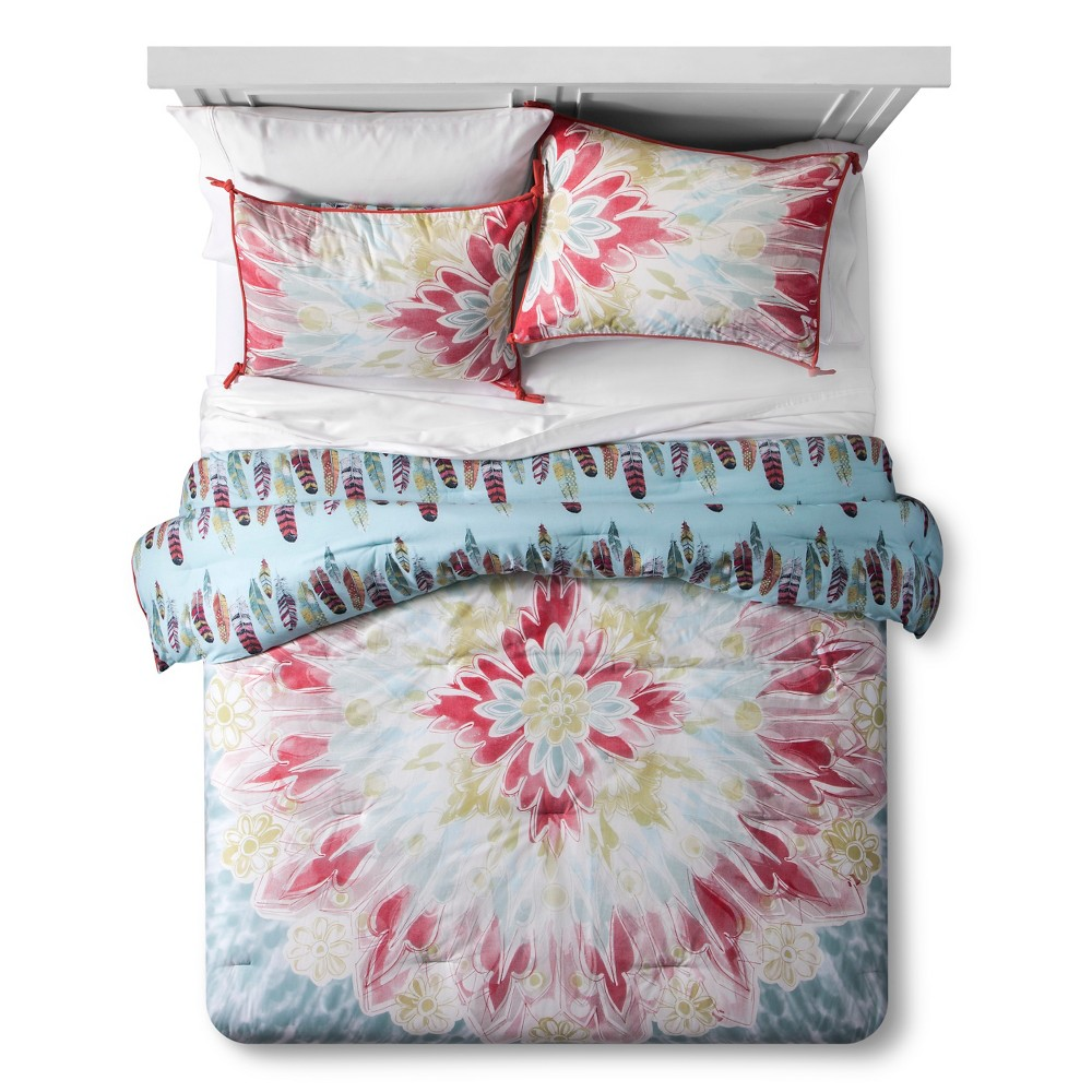 Pacific Fringe Tie-Dye Feather Reversible Comforter Set (Twin Extra Long) 2-pc - Boho Boutique, Gold Multicolored