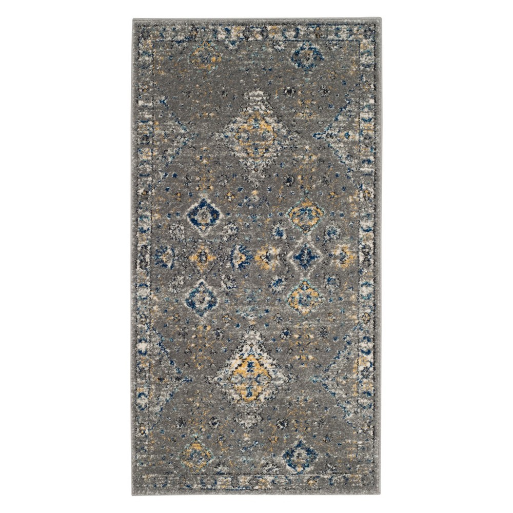 Medallion Accent Rug Dark Gray/Yellow