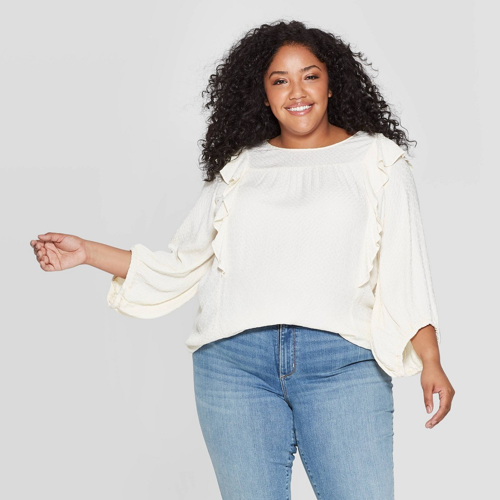 Victorian Blouses, Tops, Shirts, Sweaters Womens Plus Size 34 Sleeve Crewneck Top - Universal Thread Ivory 1X Womens Size 1XL $27.99 AT vintagedancer.com
