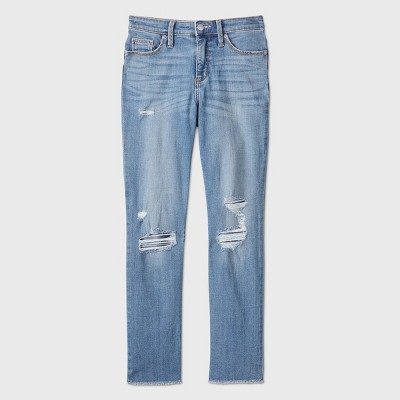 Women's High-Rise Distressed Straight Cropped Jeans - Universal Thread™ Medium Blue
