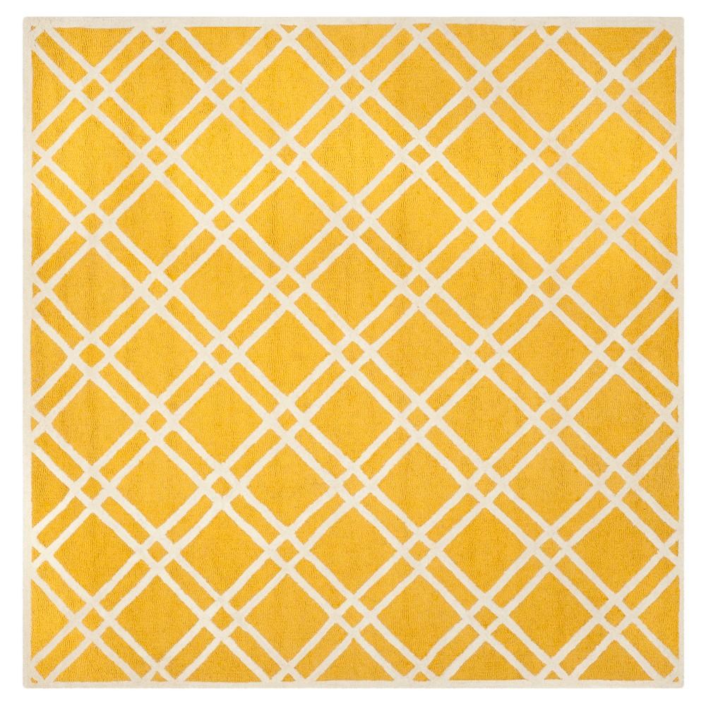 Frey Textured Wool Rug - Gold / Ivory (8' X 8') - Safavieh, Gold/Ivory
