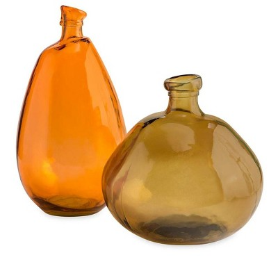 VivaTerra Recycled Glass Balloon Vases, set of 2