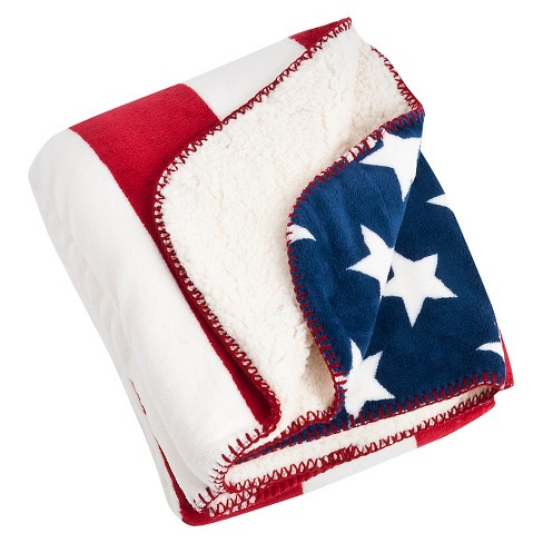 """Red Us Flag Design Sherpa Throw (50""""X60"""") - image 1 of 1"""