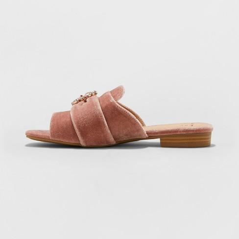 f74db6793828 Women s Dina Velvet Embellished Slide Sandals - A New Day™ Blush   Target