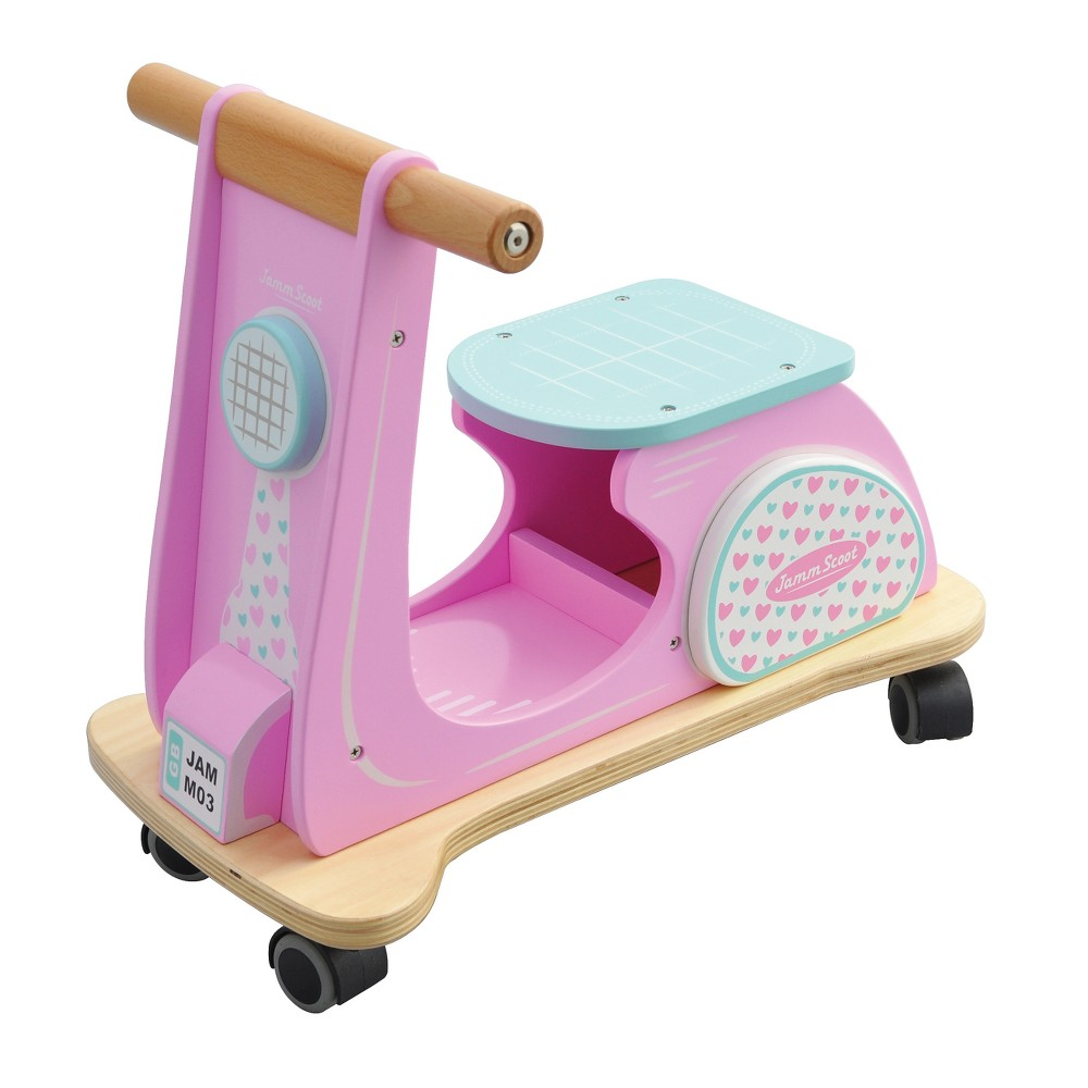 Indigo Jamm - Jamm Scoot Pink Racer Ride-On Wood Scooter