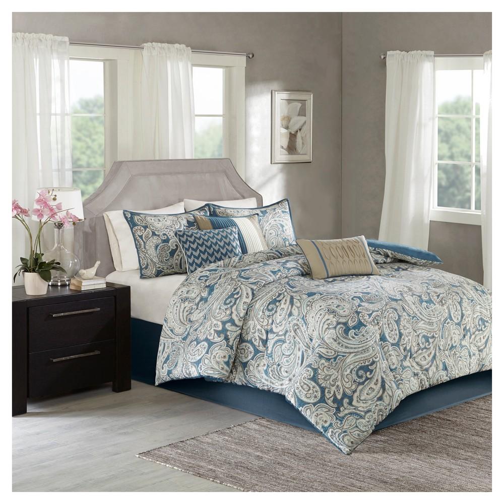 Blue Celena Printed Comforter Set (California King) 7pc