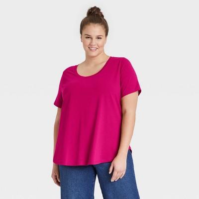 Women's Plus Size Essential Relaxed Scoop Neck T-Shirt - Ava & Viv™