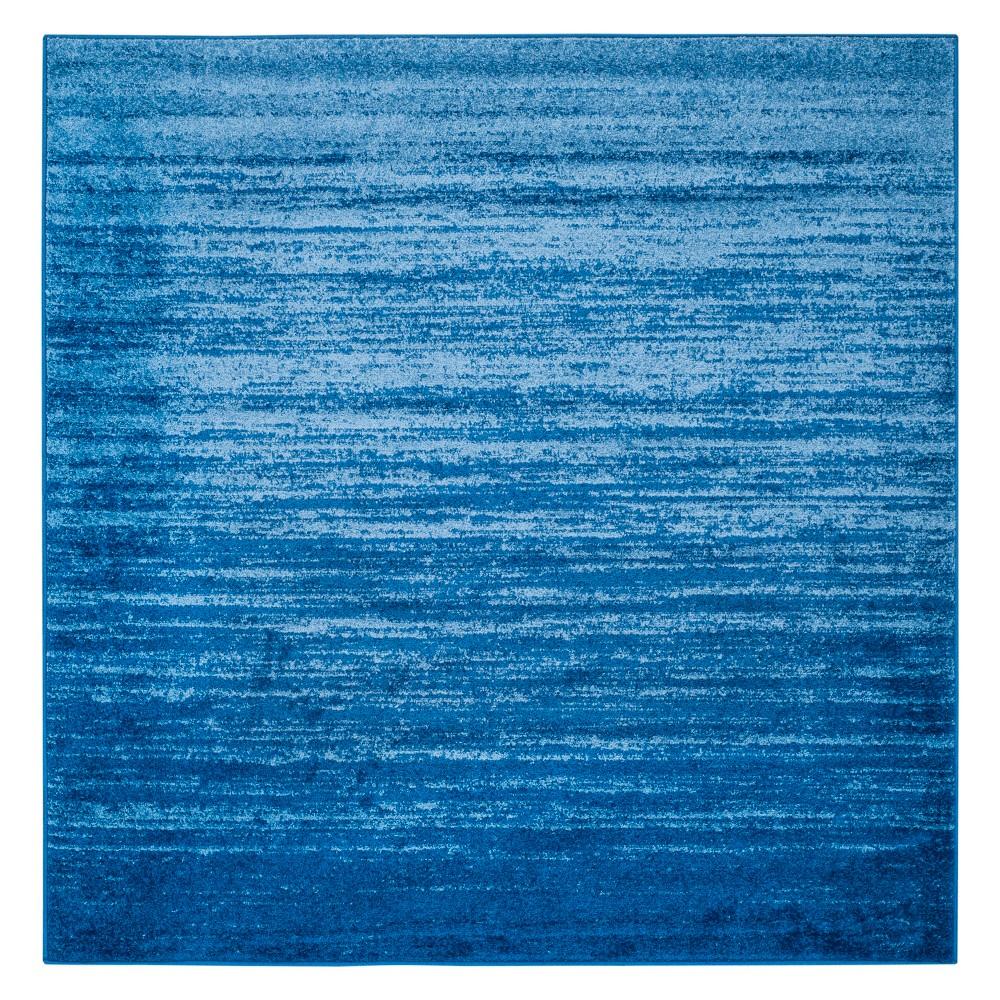 Ombre Design Square Area Rug Light Blue/Dark Blue