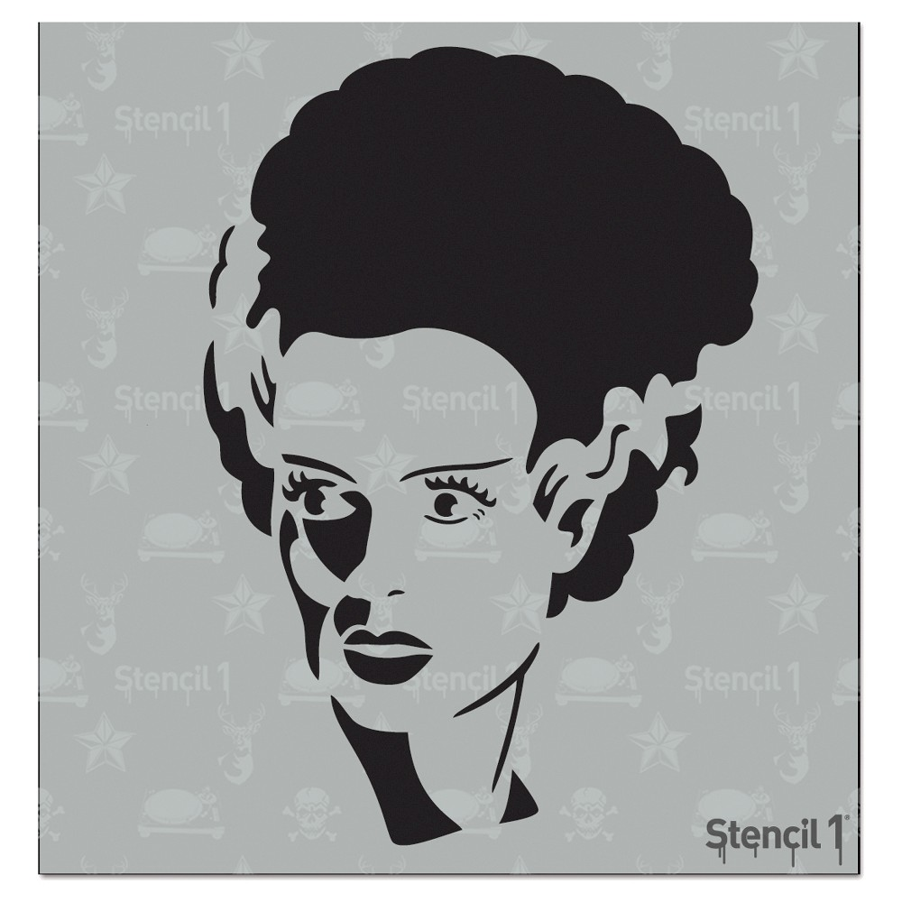 Stencil1 Bride Frank - Stencil 5.75 x 6, White