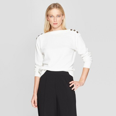 9e7de8323c5a78 Women s Long Sleeve Button Shoulder Sweatshirt - Who What Wear™