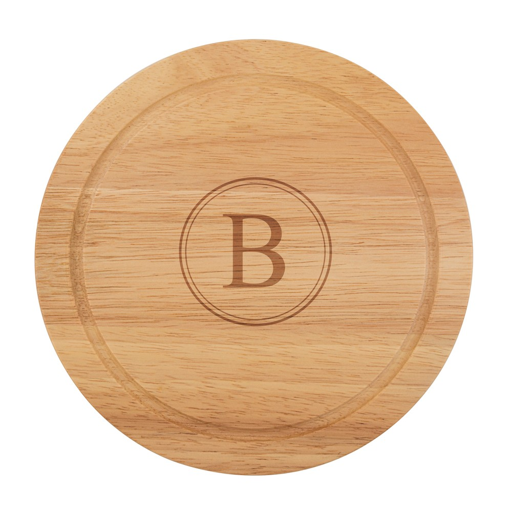Cathy's Concepts Monogram Acacia Wood 5pc Serving Tray with Tool Set B, Brown
