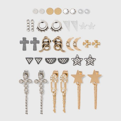 Cross and Star Chain Mini Hoops Multi Earring Set 18pc - Wild Fable™