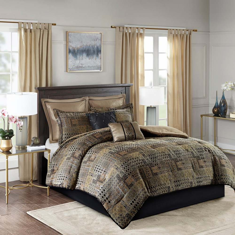 8pc Queen Graydon Chenille Jacquard Comforter Set Black/Gold, Black Gold