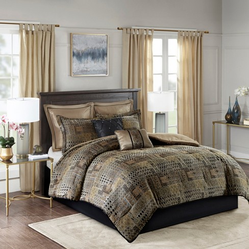 8pc Graydon Chenille Jacquard Comforter Set Black Gold