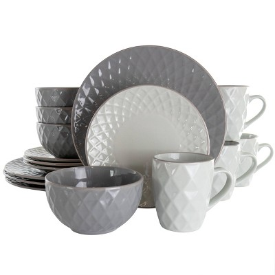 16pc Stoneware Tahitian Diamond Dinnerware Set - Elama