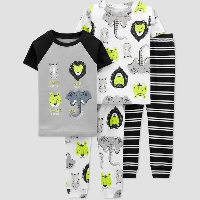 Toddler Boys' 4pc Safari Pajama Set - Just One You® made by carter's White/Gray/Yellow