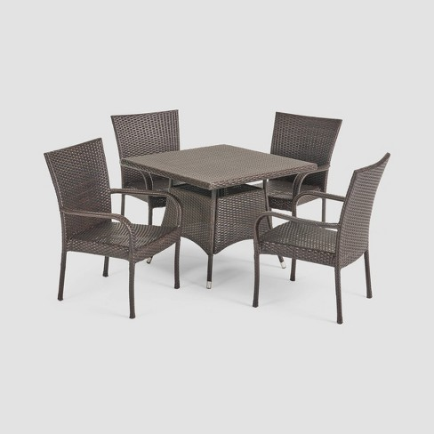 5d6a46bce3 Wesley 5pc Wicker Patio Dining Set - Brown - Christopher Knight Home :  Target