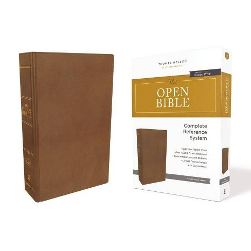 The Kjv, Open Bible, Genuine Leather, Brown, Red Letter Edition, Comfort Print - by  Thomas Nelson - image 1 of 1