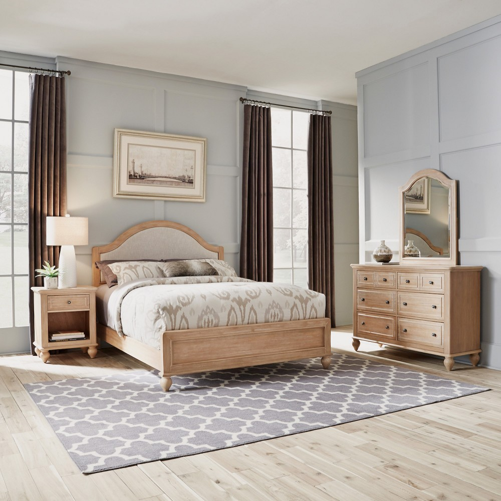 Home Styles Queen Cambridge Bed & Night Stand with Dresser Mirror White Wash