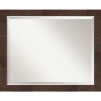 "32"" x 26"" Wildwood Framed Bathroom Vanity Wall Mirror Brown - Amanti Art"