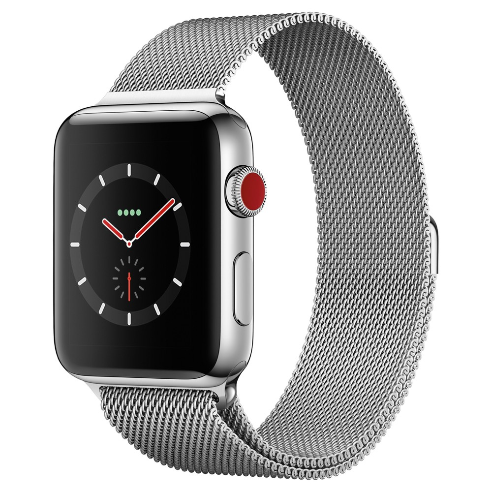 Apple Watch Series 3 42mm (GPS + Cellular) Stainless Steel Case Milanese Loop Band - Milanese, Gray