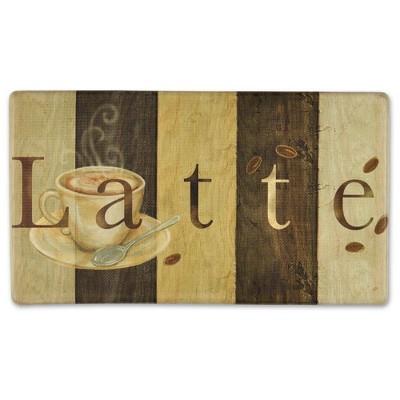 """Home Dynamix 19"""" x 35"""" Latte Sign Kitchen Mat Brown"""