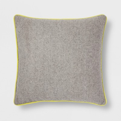 Gray with Yellow Piping Throw Pillow - Room Essentials™
