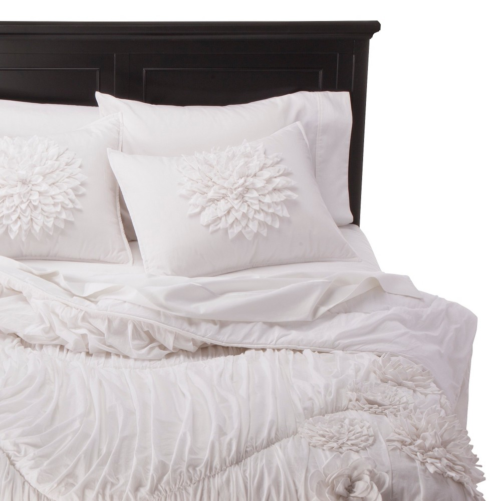 Rizzy Home Texture Flower Comforter Set - White (Twin)