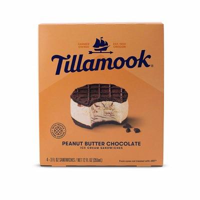 Tillamook Peanut Butter Chocolate Ice Cream Sandwich - 12oz/4ct