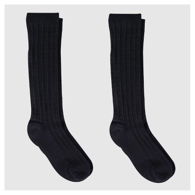 Girls' Knee-High Socks 2pk - Cat & Jack™ Black