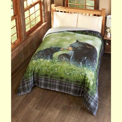 Lakeside Black Bear Comforter - Decorative Bedspread with Animal Lodge Theme