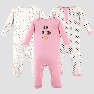 Hudson Baby Girls' 3pk Hearts Unionsuit Pajama Set - Pink 3-6M