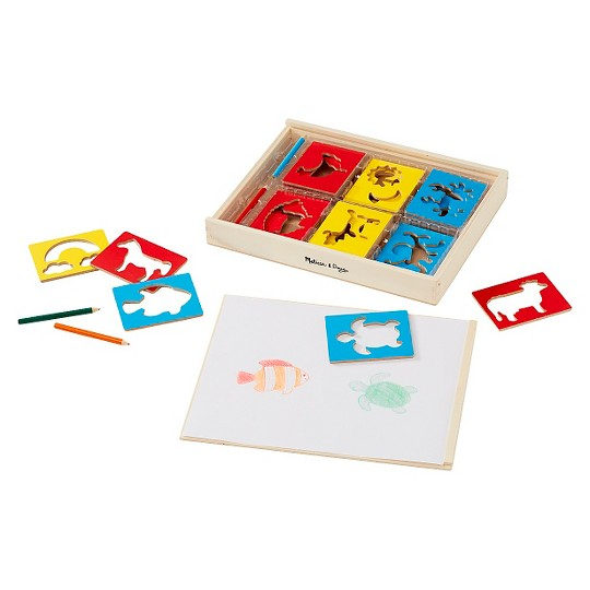 Melissa & Doug Wooden Stencil Set With 27 Themed Stencils and 4 Pencils image number null