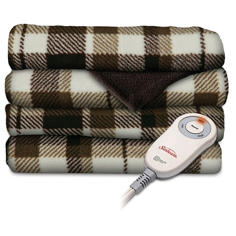 Sunbeam® SlumberRest Microplush Electric Heated Throw with foot pocket - Patterned - image 1 of 1