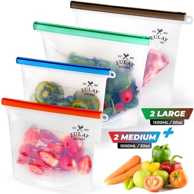 Reusable Silicone Food Storage Bags - 4-pack Food Grade Eco-Friendly Preservation Airtight Seal Bags For Storing Food Vegetables Fruits, Liquids and More
