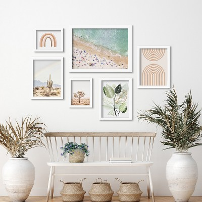 Americanflat Pastel Beach by Sisi and Seb 6 Piece Framed Gallery Wall Art Set