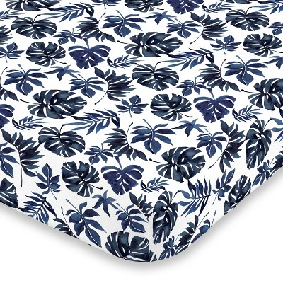 NoJo Super Soft Blue and White Palm Leaf Nursery Mini Crib Fitted Sheet